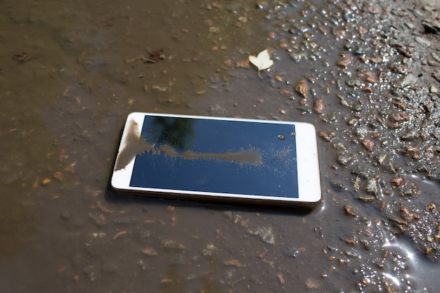 Mobile phone lying on pavement in puddle