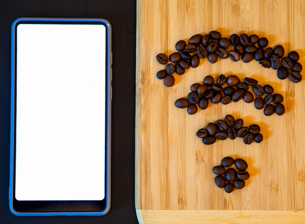 Mobile phone mock-up with coffee bean wifi symbol