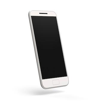 휴대 전화 모형 핸드폰 3d 렌더링 어두운 화면이 있는 흰색 배경에 스마트폰