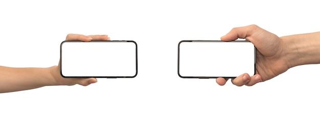 흰색 배경 사진에 격리된 휴대폰 모형 영화 또는 영화 콘텐츠 표시 템플릿