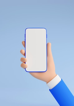 Mobile phone mockup in human hand 3d render illustration. hand in blue business suit holding smartphone with empty white touch screen - vertical banner on blue background.