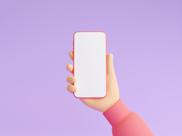 Mobile phone mockup in human hand 3d render illustration. hand in pink clothes holding smartphone with empty white touch screen. smart digital gadget in arm on purple background.