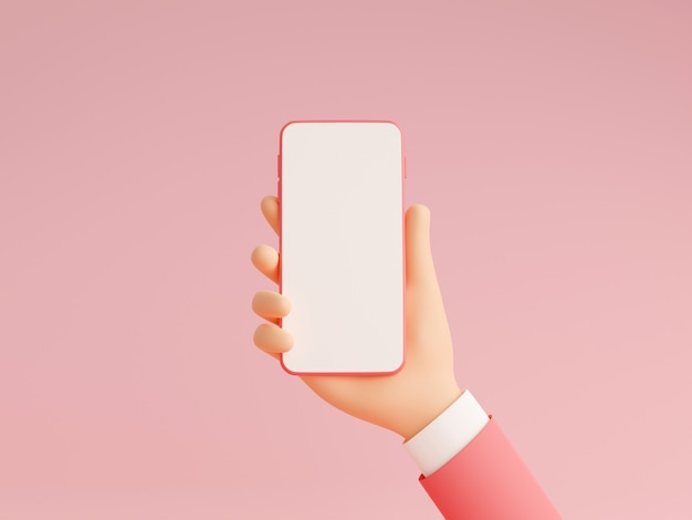 Mobile phone mockup in human hand 3d render illustration on pink background. hand in pink business suit holding smartphone with empty white touch screen - gadget mockup pastel banner.