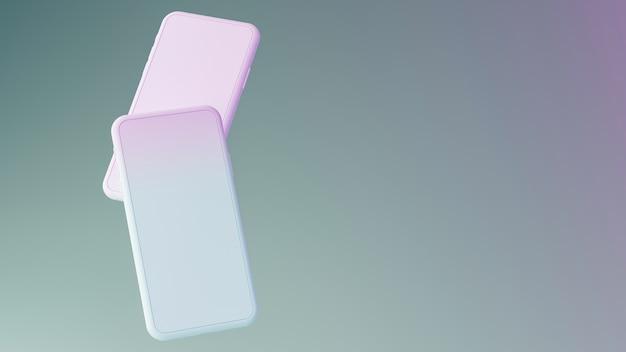 Макет мобильного телефона с пустым экраном на фоне пастельных тонов. 3d визуализация иллюстрации.