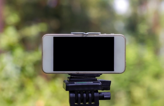 A mobile phone mounted on a tripod capturing image of natural forest in wonogiri, indonesia.