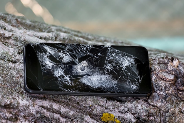 Mobile phone nailed to a tree
