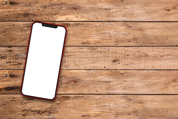 시골 풍 테이블에 휴대 전화