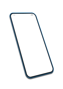 Mobile phone in portrait on white background and copy space