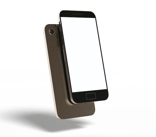 携帯電話画面モックアップスマートフォン3dレンダリング製品テンプレート技術ガジェットデバイス現実的
