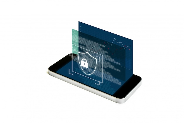 Mobile phone security and digital data security system. mobile smart phone with augmented reality security lock screen