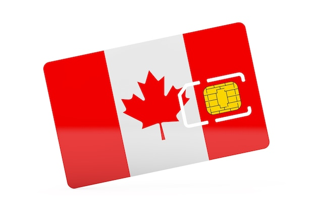Mobile phone sim card chip with flag of canada on a white background. 3d rendering