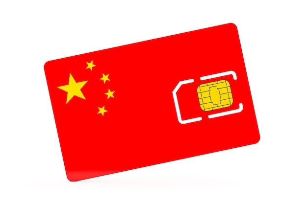 Mobile phone sim card chip with flag of china on a white background. 3d rendering