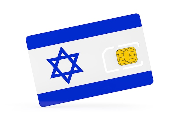 Mobile phone sim card chip with flag of israel on a white background. 3d rendering