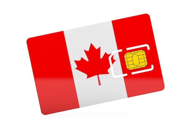 白い背景の上のカナダの旗と携帯電話のsimカードチップ。 3dレンダリング
