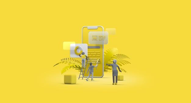 Мобильный телефон смартфон веб-интерфейс ux-приложение дизайн концепция совместной работы 3d-иллюстрация команда людей строительство