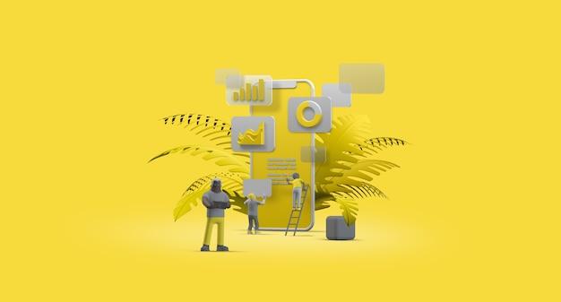 Мобильный телефон смартфон веб-интерфейс ux-приложение дизайн концепция совместной работы 3d иллюстрации
