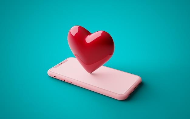 Мобильный телефон с сердцем на диване. настраиваемый цвет фона, 3d визуализация