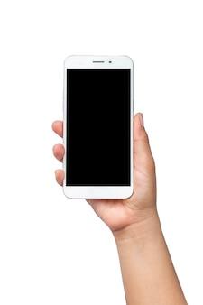 クリッピングパスと白い背景で隔離の男の手に黒い画面を持つ携帯電話。