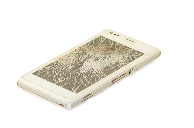 Mobile phone with broken screen, white smartphone