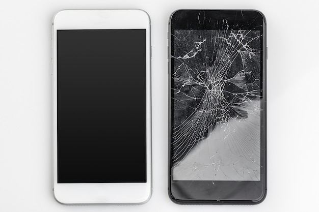 Mobile phone with broken screen