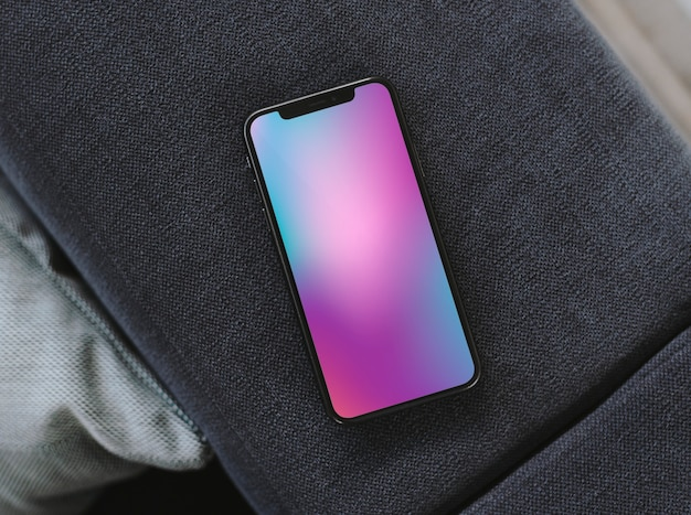 Mobile phone with a colorful background
