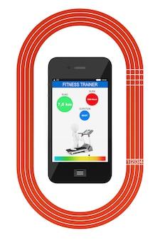 흰색 배경에 피트니스 트래커 응용 프로그램 및 러닝 트랙이 있는 휴대 전화