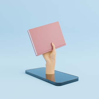 Mobile phone with a hand and a book coming out