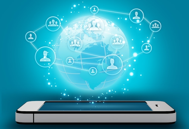 Мобильный телефон с иконами иконы людей и карты