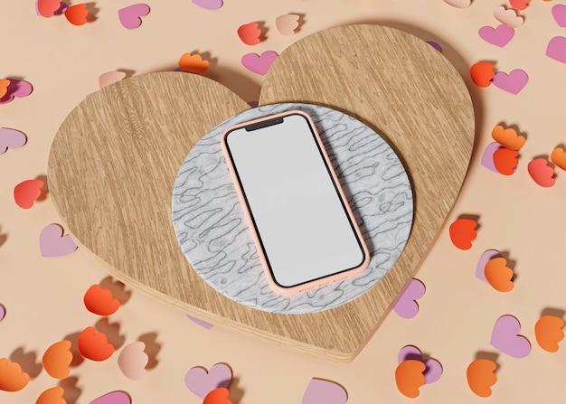 大理石と木製の台座付きの携帯電話