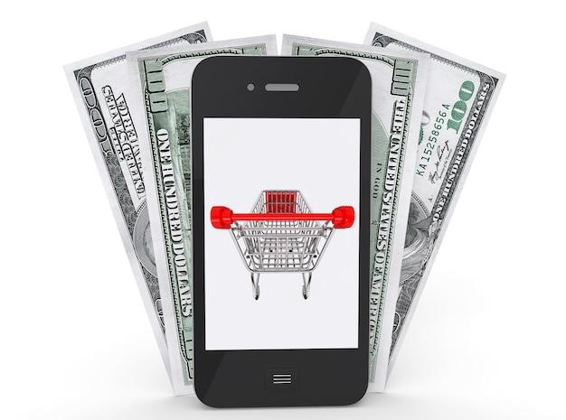 画面にショッピングカート、白い背景にお金が付いた携帯電話