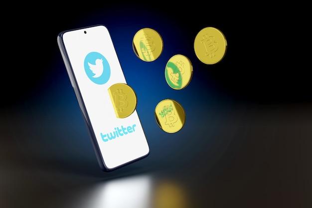 화면에서 나오는 twitter 로고와 비트코인이 있는 휴대폰