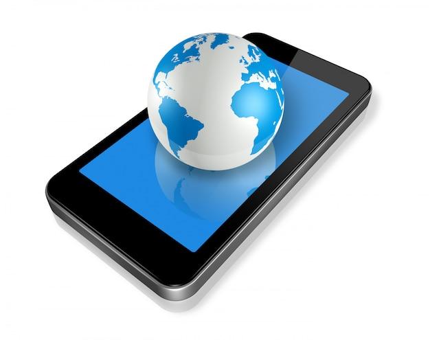 Mobile phone and world globe