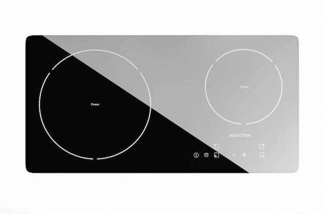 白い背景の上のモバイルポータブル誘導クックトップストーブ。 3dレンダリング。