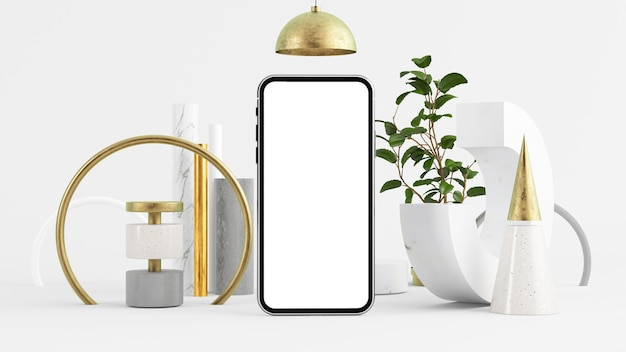 Mobile screen mock up on minimal abstract environment 3d rendering