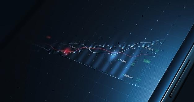 Мобильный экран рыночной бизнес-диаграммы фондового графика или прибыли финансовых данных инвестиций на фоне цифрового планшета с информацией об обмене диаграммой. 3d-рендеринг.
