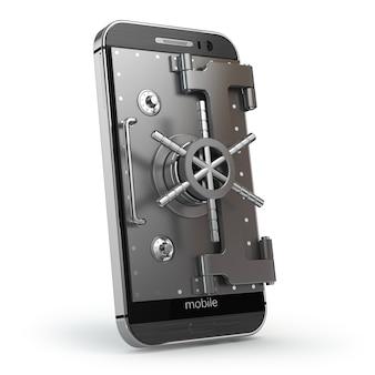 Концепция мобильной безопасности смартфон или мобильный телефон с сейфом или дверью сейфа. 3d
