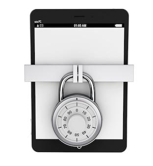 Концепция мобильной безопасности. планшетный пк с замком на белом фоне