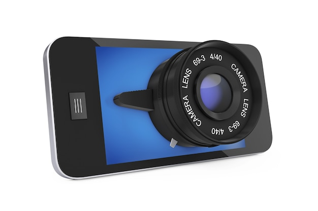 Mobile smart phone with big camera lens on a white background. 3d rendering.