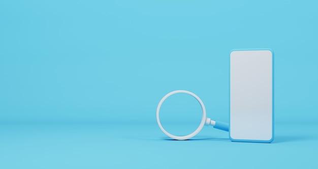 Мобильный смартфон и увеличительное стекло на голубом фоне. поиск информационных данных в смартфоне на концепции сети интернет. 3d иллюстрация