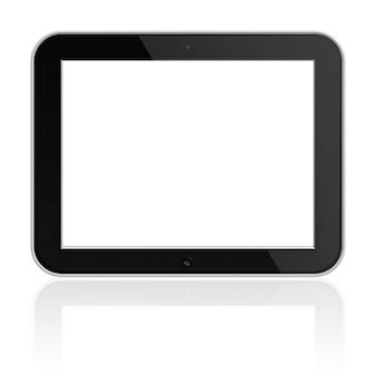 흰색 배경에 고립 된 그림자와 빈 화면이 모바일 태블릿 pc.