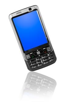 モバイルテクノロジー。白で隔離の現代の携帯電話