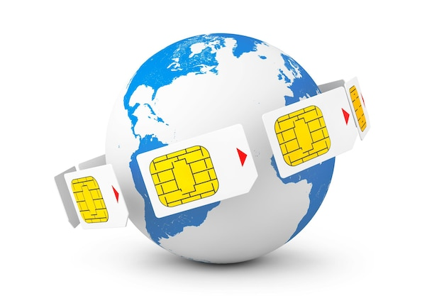 Mobile telecommunication concept. macro view of sim cards around earth globe on a white background