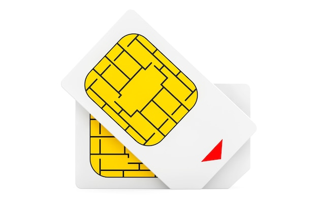 Mobile telecommunication concept. macro view of sim cards on a white background