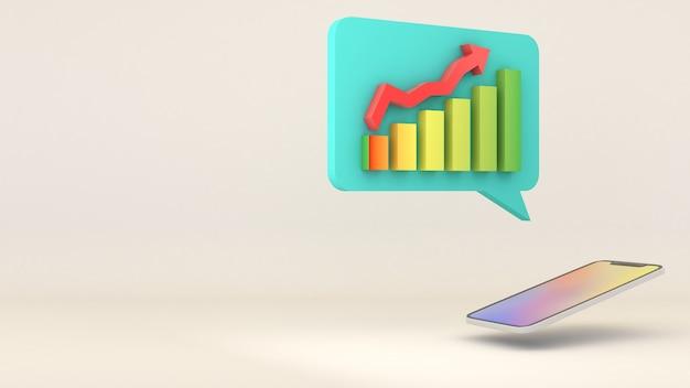 モバイルは株価チャートを表示するためにオンラインアプリを使用します。3dレンダリング