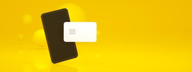 노란색 배경 위에 은행 카드가 있는 모바일, 개념 온라인 결제 파노라마 레이아웃, 3d 렌더링