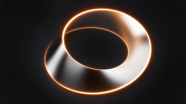 라인 네온라인 검정 배경, 3d 렌더링에 은색 재료를 사용하는 뫼비우스 스트립 모양