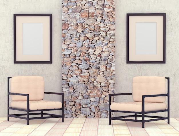 Mocap интерьер комнаты. номер с серыми оштукатуренными стенами и яркой напольной плиткой.