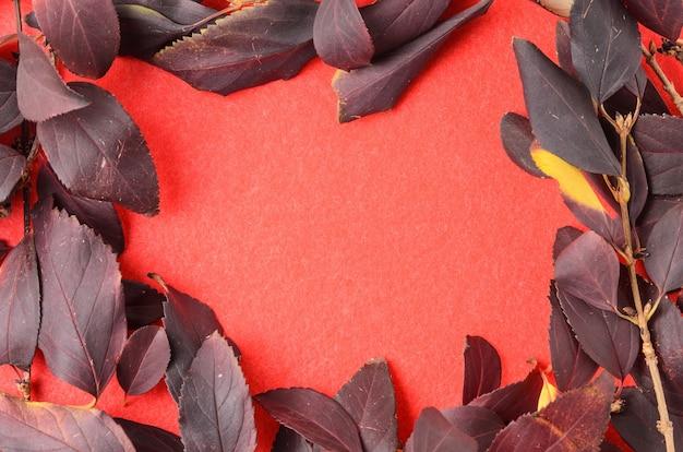Мокап из осенних листьев на фактурной поверхности из красной ворсистой ткани. выборочный фокус.