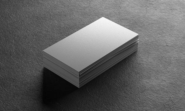 Mocap one pack of business cards. business card on black background. 3d render.