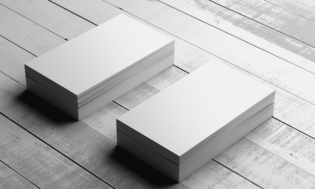 Mocap. stack of white business cards on a wooden background. 3d render.